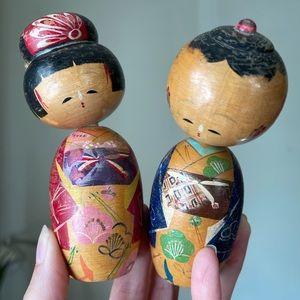 """Pair Vintage Wood Japanese Kokeshi Bobble Head Dolls 5"""""""
